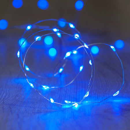 Blue indoor fairy lights
